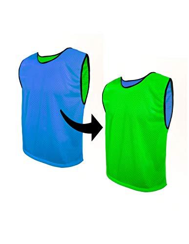 SPORTSBIBS Trainingsleibchen Fußball Markierungshemden für Team-Spiel, Wendeweste - Doppelseitig / 2-Farbig: Blau/Grün, für Senioren - Größe: XL (180-190cm)