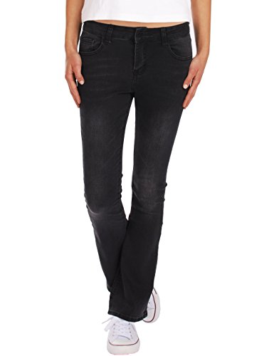 Fraternel Damen Jeans Hosen Bootcut Used normal Waist Stretch Schwarz L / 40 - W31