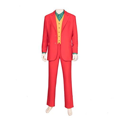 QWEASZER Batman Clown Joker Cosplay Kostüm Rollenspiel Blazer, Anzughose, Weste, Hemd Bühnenkleidung,Red-Custom Size (Custom Clown Kostüm)