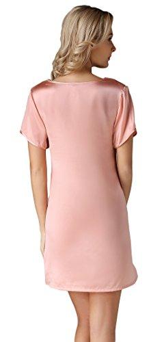 Tulpen Damen Seide Schlafkleider Kurzarm 100% Maulbeerseide Schlafanzug Rosa