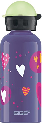 Sigg Mädchen Trinkflasche Glow in The Dark Heartballons, Lila/Bunt/Glow, 400 ml, 8505.60