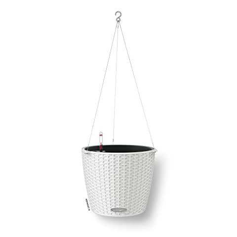 Lechuza Cottage Nido 27cm Rattan Look White Self Watering Hanging