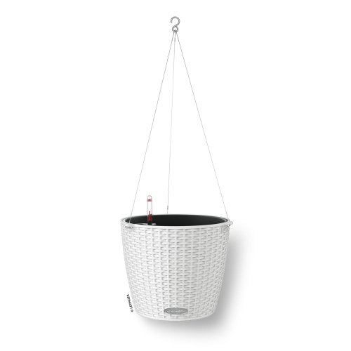 Lechuza 15190 Nido Cottage Blumenampel, Hochwertiger Kunststoff, Inkl. Bewässerungssystem und Edelstahlaufhängung, Für Innen- und Außenbereich, weiß