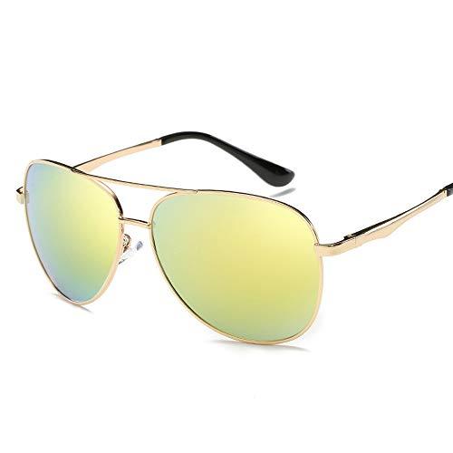 Easy Go Shopping Farbfilm Metall Sonnenbrille Polarisierte Sonnenbrille Trend Retro Pilot Sonnenbrille Sonnenbrillen und Flacher Spiegel (Color : Gold, Size : Kostenlos)