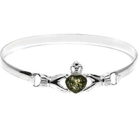 Green Amber Claddagh Heart Shaped Stone Elegant Bangle Bracelet 7