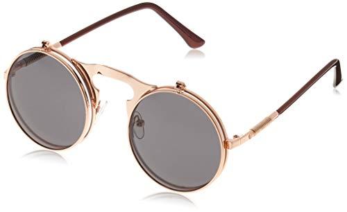 Dollger Herren Lennon Flip up Runde Sonnenbrille(Schwarze Linse+Rose Goldrahmen)