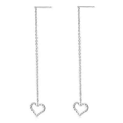 14ct 585Weiß Gold Diamantschliff Herz offen Lange Kette Einfädler Ohrringe Frauen Schmuck (Kette Einfädler Ohrringe)