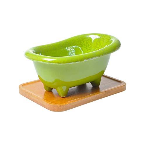 Keramik Seifenschale Halter mit Bambus Tablett, freistehende Badewanne Form Seifenkiste Handtuch Dish Dusche Caddies multifunktionale Lagerung for Hotel Badezimmer Küchenspüle, 18,5 x 11,2 x 18,5 cm c