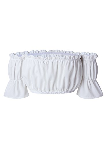ACHICGIRL Women's off Shoulder Short Sleeve Ruffle Crop Top white