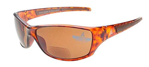 Atlantic Eyewear AE0044 Braun Sport Bifokale Lesebrille Sonnenbrille Damen und Herren inkl. Fest Reißverschluss-Etui, Reinigungstuch und Kabel (+2.50)