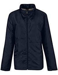 B&C Collection Women's Full Zipped Polyester Multi-Function Microfleece Jackets Navy/Warm Grey Lining S