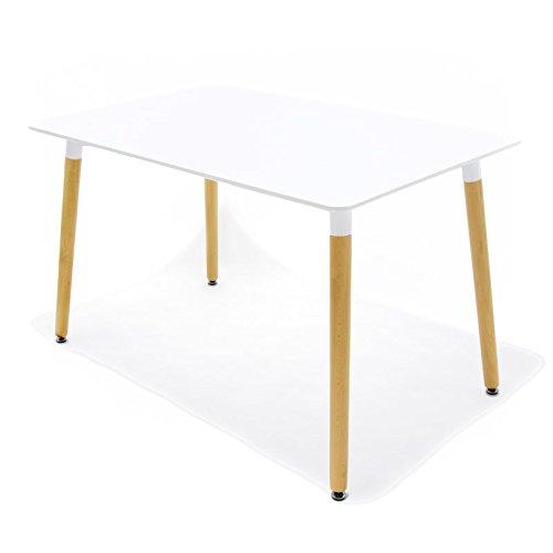 Customobel Space 120 Table, Bois et Acier, Blanc, 120 x 80 x 15 cm