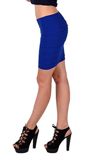 Stretch Minirock oder Bandeau Top 2 in 1 mit breiten Lamellen Blau
