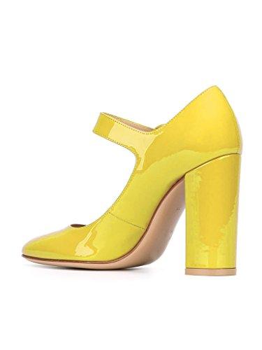 EDEFS Escarpins Femme Bride Cheville Boucle Bout Rond Mary Janes Chaussures Pompes a Talon de Mariee Mariage Jaune