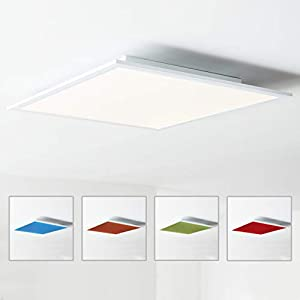 LED Panel Deckenleuchte mit RGB Farbwechsel per Fernbedienung steuerbar, 60x60cm, 40 Watt, 4000 Lumen, 2700-6500 Kelvin aus Metall/Kunststoff in wei