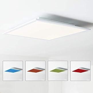 Pannello LED da soffitto, 60 x 60 cm, cambiamento cromatico RGB, con telecomando, 1 x 40 W LED integrato, 1 x 4000 Lumen, 2700 – 6500 K, in metallo/plastica, bianco