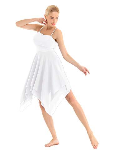 tkleid Träger Kleid Tanzkleid Basic Ballettanzug ärmellos Ballett Trikot Body asymmetrisch Wickelrock gr. 34-44 Weiß 38 ()