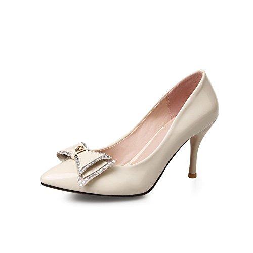 Senhoras Puxar Bombas Toe Sapatos Pontudo De Creme De Voguezone009 Stiletto FqdRvwF5