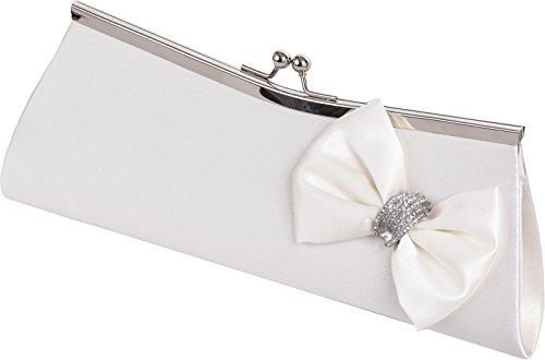 7e70a265900fc ELLIS - Damen Vintage Clutch für die Braut mit Metall Rahmen und Satin  Schleife mit Diamanten