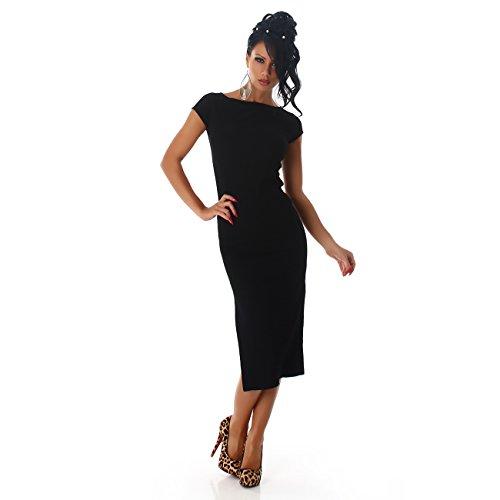 Femmes Jela London Robe bébé robe de cocktail cocktail robe robe de soirée de robe de nervure de gaine Carmen-cou genou longueur nervure Noir