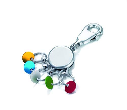 TROIKA  KYR61/MC PATENT SCHLÜSSELHALTER rund, matt Schlüsselanhänger Karabinerhaken 5 ausklinkbare Ringe, farbige Plättchen zur Zuordnung der Schlüssel -
