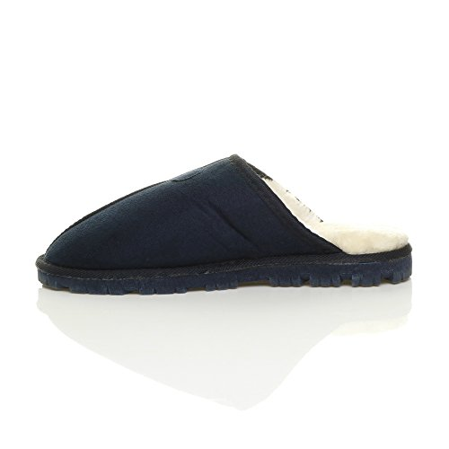 Herren Luxuriös Warm Winter Pelz Gefüttert Gemütlich Geschenk Hausschuhe Pantoffeln Größe Dunkelblau