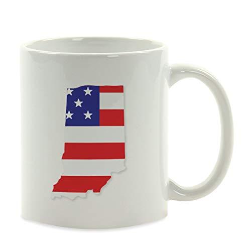 TANGGOOD 11oz. US-Bundesstaat-Kaffeetasse-Geschenk, Vereinigte Staaten Landesflagge, Indiana, Präsidentschaftswahl Veterans Day Fourth of July Party Dekorationen Geburtstag