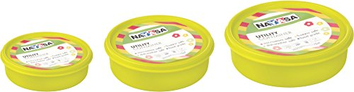 Nayasa Vital Round Plastic Container, 3-Pieces, Green