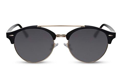 Cheapass Sonnenbrille Rund Schwarz UV-400 Designer-Brille Festival-Accessoire Frauen Männer