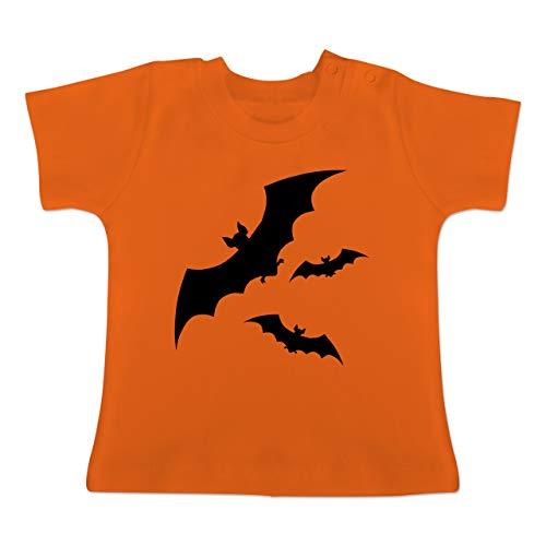 Anlässe Baby - Fledermäuse - 1-3 Monate - Orange - BZ02 - Baby T-Shirt Kurzarm (Womens Halloween-kostüme Lustig 2019)