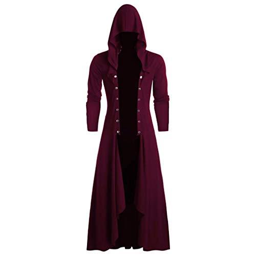 Binggong Damen Sweatshirt Herren Steampunk Gothic Umhang mit Kapuze Retro Mittelalter Kostüm,Männer Beiläufige Smoking Langarm Hoodie Open Front Cardigan -