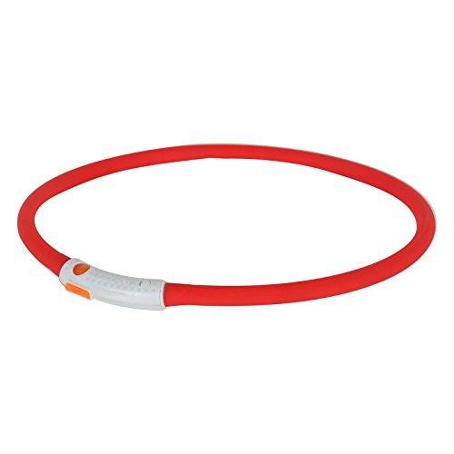2-TECH LED Visio Leuchthalsband in ROT Deluxe für Hunde und Katzen universell kürzbar, Halsumfang bis 55 cm