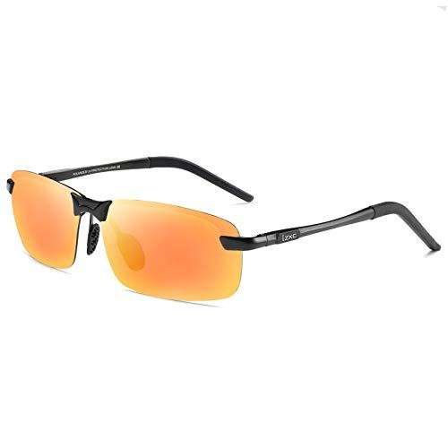 LZXC Herren Polarisierte Fahren Sonnenbrillen Sport im Freien Eyewear Unzerbrechlich Spring Scharnier Ultra-light AL-MG Schwarzer Rahmen HD Objektiv für Männer