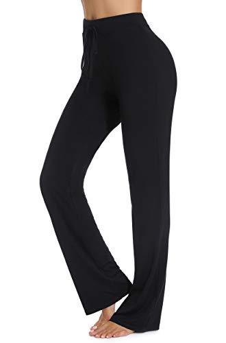 FITTOO Pantaloni Flare Donna Yoga Pants Leggins Sportivi Collant Fitness Gym, Nero, M