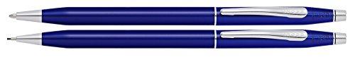 Cross AT0081-112 Kugelschreiber und Drehbleistift Set Classic Century, Transluzent blau/schwarz