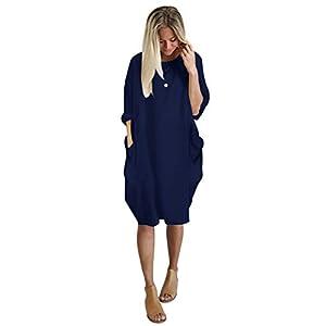 Landove Vestito Oversize Donna Elegante Moda Casual Abito Sciolto Scollo Barco Vestiti Manica Lunga Primavera Estate… 8 spesavip
