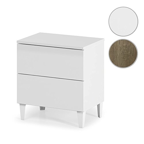Habitdesign 007832BO - Mesita de noche estilo nórdico, acabado blanco brillo , medida 49 x 50 x 34