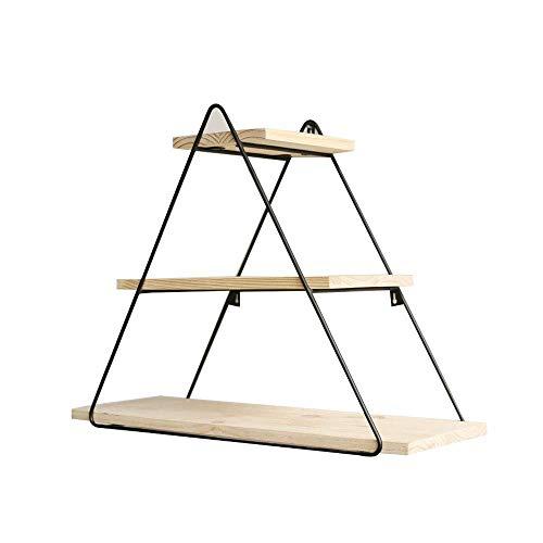 JJL Industrierohr-Regal-Bücherregal Rustikales modernes hölzernes Leiter-Wand-Regal 3 Reihen Schmiedeeisenrohr-Entwurfs-Bücherregal DIY Fach -