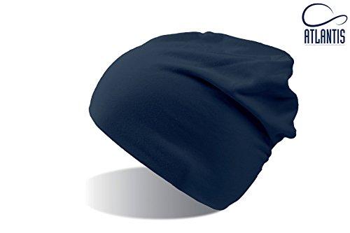 FLASH BLUE NAVY LONG BEANIE HAT cuffia in Cotone lunga cappello BERRETTO IN MAGLIA