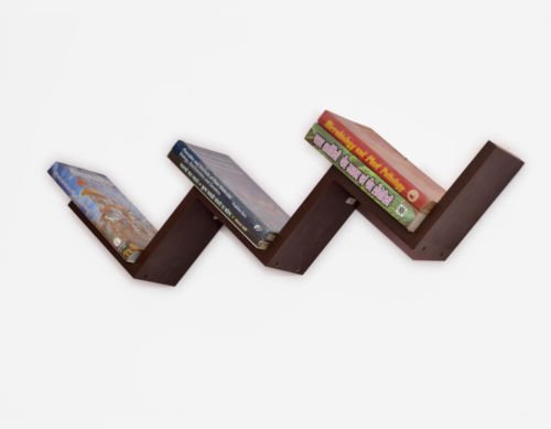 USHA Furniture W Shaped Floating Wall Shelf Zigzag Wall Mounted Shelf - Laminated Brown