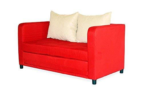 Schlafsofa Zum - Schlafsessel - Sofa 2 Sitzer - Schlafsofas Cube mit Bettkasten und Schlaffunktion - Klappsofa, Bettfunktion, Bettcouch, Schlafcouch, Sofabett, Bettsofa (Rot)