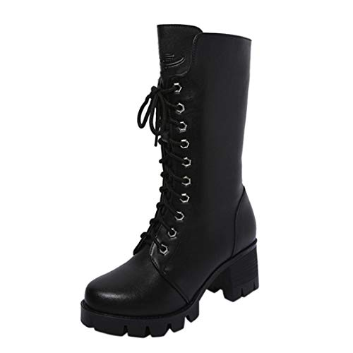 VJGOAL Damen Stiefel, Damen Mode Roman Ankle Booties Leder Ritter Martin Stiefel Casual Zip Cowboy Winterschuhe (Schwarz, 38 EU)