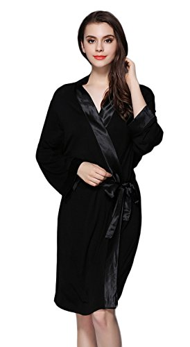 Tulpen Damen Modal Robe Morgenmantel Schlafkleid Nachtkleid--Farbe/Groesse Waehlbar Schwarz
