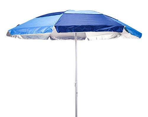 Meinposten. Sonnenschirm Strandschirm mit Schraubdorn 200 cm Durchmesser HOHER UV 50+ blau