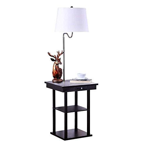 QIANGUANG Modernen Nachttisch LED-Bodenbelag Solider Holztisch Regale&USB Port Kombination, Wohnzimmer Sofa Büro Nachttischlampe(Birne nicht enthalten) (Tisch-lampe-kombination)