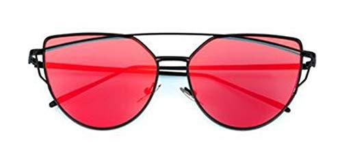 MOJINGYAN Sonnenbrillen Cat Eye Retro Rot Transparent Mirror Mode Sonnenbrille Frau Black Metal Reflektierende Ebene Objektiv Sonnenbrille Frau Gläser