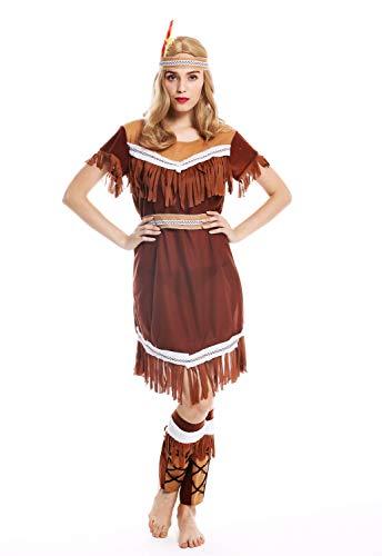 dressmeup W-0211 Kostüm Damen Frauen Karneval Halloween lang Indianerin Squaw M