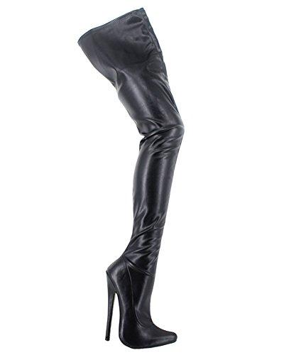 Wonderheel stiletto heel matt leder fetisch over-knee crotch stiefel (Crotch Stiefel)
