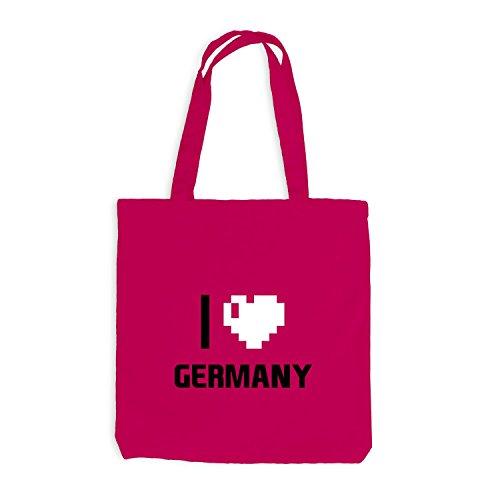 Jutebeutel - I Love Germany - Deutschland Reisen Herz Heart Pixel Pink