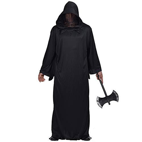 Loozykit Unisex Schwarz Halloween Umhang mit Kapuze Lange Cape Vampir Kostüm Halloween Karneval Fasching Cosplay Zauberer Ritter Kostüm für Damen - Der Dude Kostüm Halloween